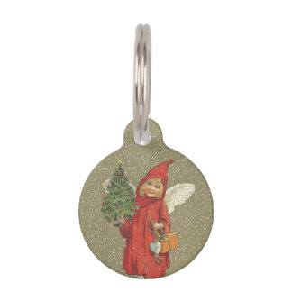 Vintage Victorian Red Christmas Child Angel Tree Pet ID Tag
