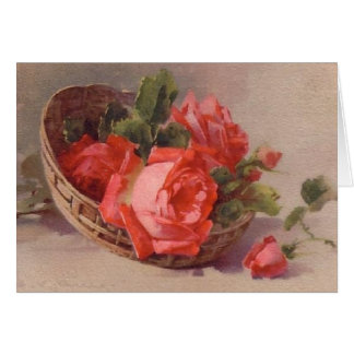 Vintage Victorian Red Roses Everyday Card