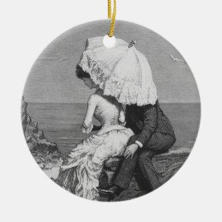Vintage Victorian Romantic Couple by Beach Christmas Ornament