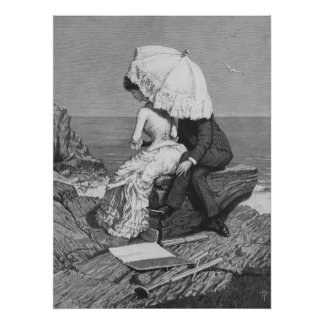 Vintage Victorian Romantic Couple by Beach Poster