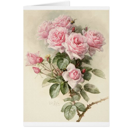 Vintage Victorian Romantic Roses Greeting Card
