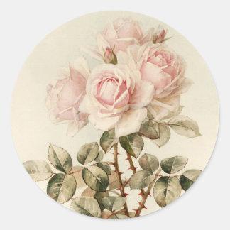 Vintage Victorian Romantic Roses Round Stickers