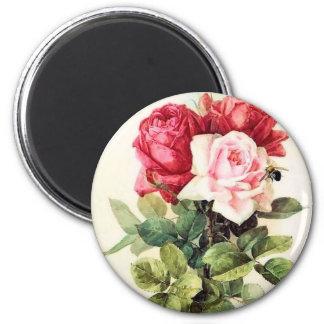 Vintage Victorian Rose Bouquet 6 Cm Round Magnet