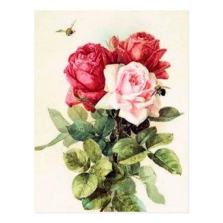 Vintage Victorian Rose Bouquet Postcard