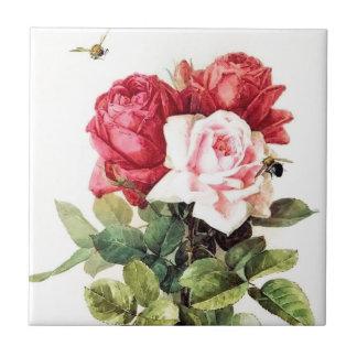 Vintage Victorian Rose Bouquet Ceramic Tiles