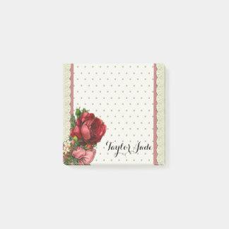 Vintage Victorian Rose Glitter polka dot Post it Post-it Notes