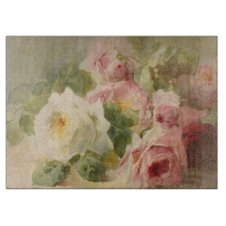 Vintage Victorian Rose Watercolor Cutting Board