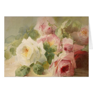 Vintage Victorian Rose Watercolor Greeting Card