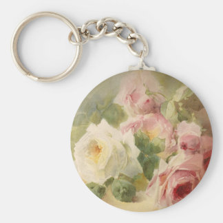 Vintage Victorian Rose Watercolor Key Chains