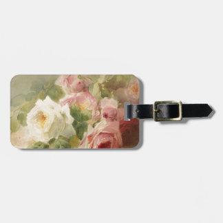 Vintage Victorian Rose Watercolor Luggage Tag