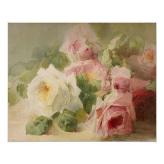 Vintage Victorian Rose Watercolor Poster