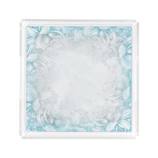 Vintage Victorian Roses Aqua Blue & White tray