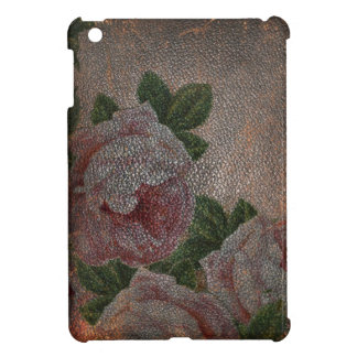 Vintage Victorian Roses Brown Distressed Leather iPad Mini Cover