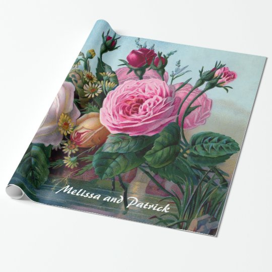 Vintage Victorian Roses Custom Wrapping Paper