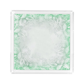 Vintage Victorian Roses Mint Green & White tray