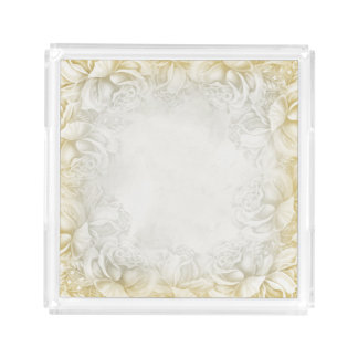 Vintage Victorian Roses Taupe & Beige Neutral tray
