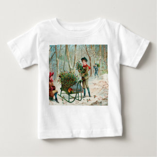 vintage,victorian,rustic,christmas,pattern,girl an infant T-Shirt