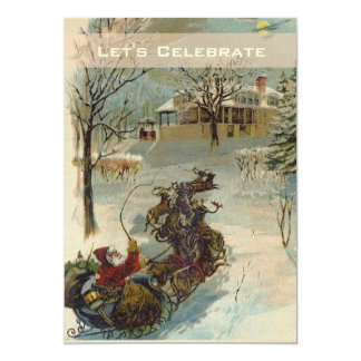 Vintage Victorian Santa Holiday Christmas Party 13 Cm X 18 Cm Invitation Card