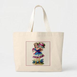 Vintage Victorian Scrapbook Girl Large Tote Bag