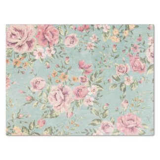Vintage victorian shabby chic pale blue floral red tissue paper