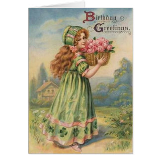 Vintage Victorian Shamrock March Happy Birthday Greeting Card
