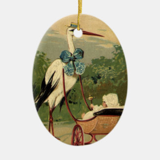 Vintage Victorian Stork and Baby Carriage Christmas Ornament