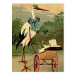 Vintage Victorian Stork and Baby Carriage Postcard