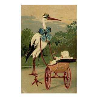 Vintage Victorian Stork and Baby Carriage Print