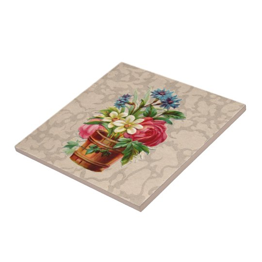 Vintage Victorian style flower display Small Square Tile
