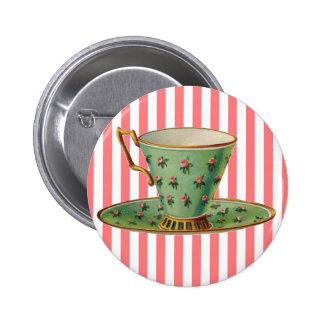 Vintage Victorian Tea Cup 6 Cm Round Badge