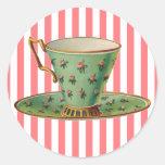 Vintage Victorian Tea Cup Round Stickers