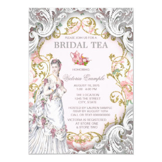 Vintage Victorian Tea Party 13 Cm X 18 Cm Invitation Card