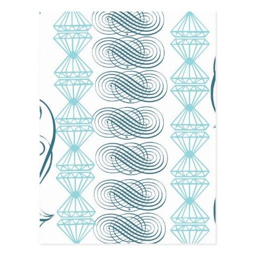 Vintage victorian teal turqouise white pattern fun postcard