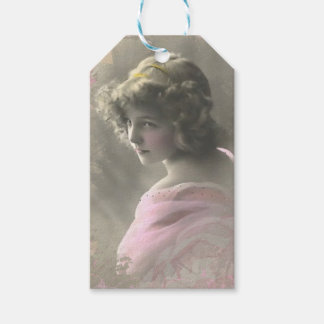 Vintage Victorian Teenage Girl in Pink Gift Tags