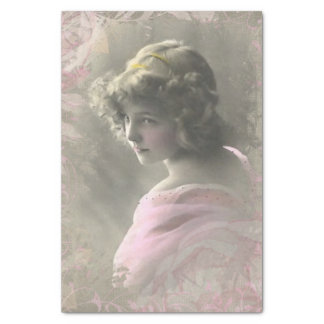 Vintage Victorian Teenage Girl Pink Tissue Paper