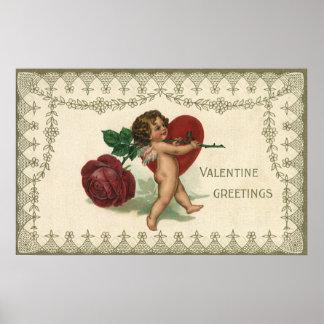 Vintage Victorian Valentine Cherub, Rose and Heart Poster