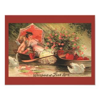 Vintage Victorian Valentine Day Cherub with Hearts Card