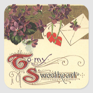 Vintage Victorian Valentine, To My Sweetheart Square Stickers