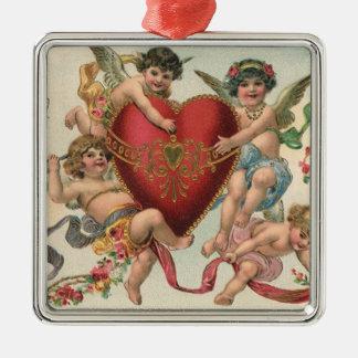 Vintage Victorian Valentines, Cherubs Angels Heart Christmas Ornament