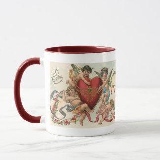 Vintage Victorian Valentines, Cherubs Angels Heart Mug