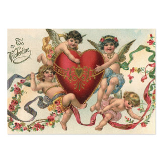 Vintage Victorian Valentines, Cherubs Angels Heart Pack Of Chubby Business Cards