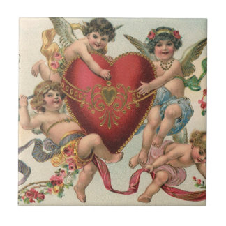 Vintage Victorian Valentines, Cherubs Angels Heart Small Square Tile