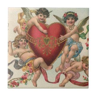 Vintage Victorian Valentines, Cherubs Angels Heart Tile