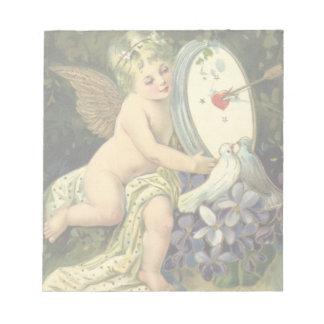 Vintage Victorian Valentines Day, Angel Love birds Notepad