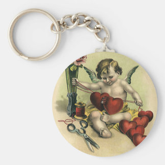 Vintage Victorian Valentine's Day Angel Seamstress Key Ring