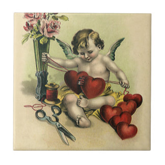 Vintage Victorian Valentine's Day Angel Seamstress Small Square Tile