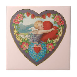 Vintage Victorian Valentine's Day, Angel w Heart Small Square Tile