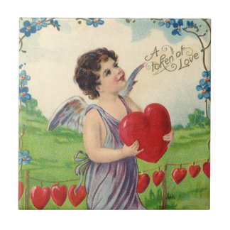 Vintage Victorian Valentines Day, Angel with Heart Tile