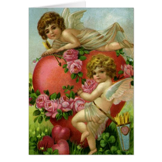 Vintage Victorian Valentines Day Angels Heart Rose Card