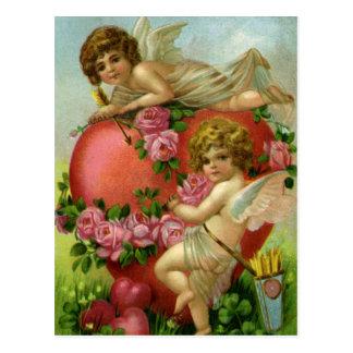Vintage Victorian Valentines Day Angels Heart Rose Postcard